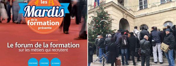 Devant la mairie parisienne du 14ème, le 13 décembre, à l'invitation de Pôle Emploi.