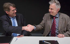 Jacques Igalens, directeur de la Business School de Toulouse et Marc Houalla, de l'Enac. Photo : Manuel Huynh