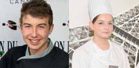 """Fabien Rollo, et Amandine Picard, apprentis en pâtisserie et lauréats du """"meilleur dessert""""."""