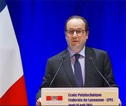 François Hollande le 16 avril à l'EPFL.