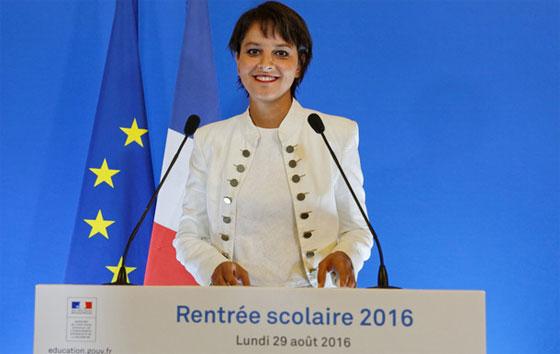 La ministre de l'Education Najat Vallaud-Belkacem, présente les nouveautés de la rentrée, le lundi 29 août 2016.