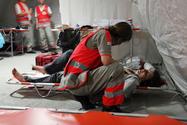 Un poste de secours de la Croix Rouge