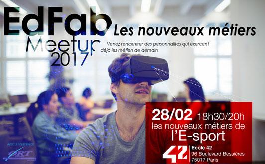 Affiche de la soirée sur les métiers du e-sport organisée par EdFab.