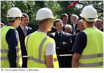 Nicolas Sarkozy au centre de formation de Veolia Environnement / Copyright : L. Blevennec
