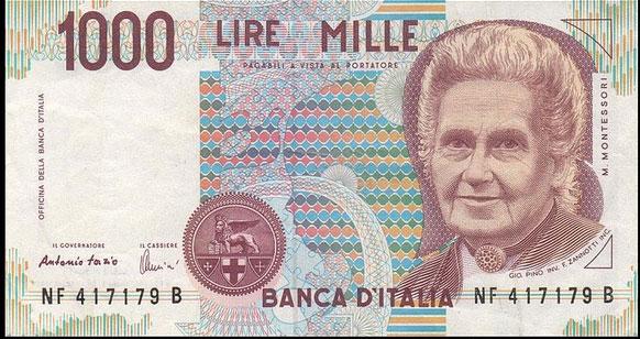 Le visage de Maria Montessori a figuré sur un billet de la lire italienne.