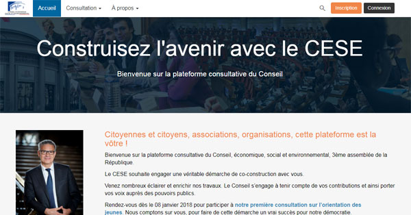 Page d'accueil de la plateforme collaborative du CESE https://participez.lecese.fr