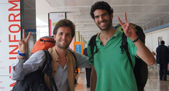 "Matthieu Dardaillon et Jonas Guyot au retour de ""Destination Changemakers"", en 2013. (Photo Facebook)"