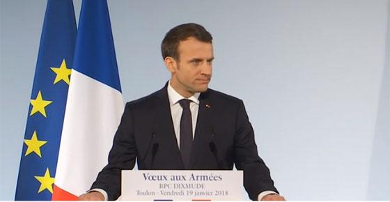 Le président français prononce ses voeux 2018 aux Armées sur la base navale de Toulon © Elysée