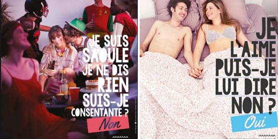 Affiches de la campagne sur le consentement de l'Espace santé étudiants de Bordeaux en 2016.