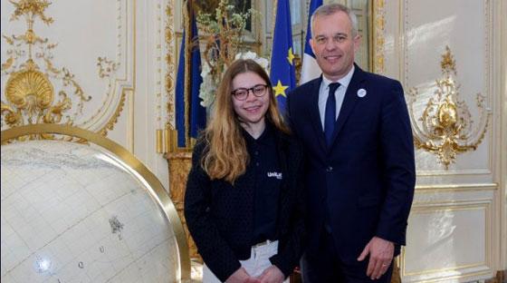 Alice Marceau et le ministre de la Transition écologique François de Rugy © Twitter @Fderugy