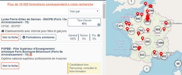 Capture d'écran de recherche de formation sur Parcoursup