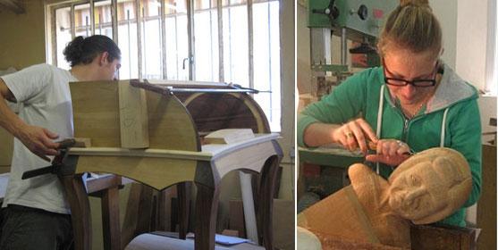 """Dans le grand atelier de l'Ecole d'ébénisterie d'Avignon, des élèves réalisent leur """"chef d'oeuvre""""."""