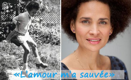 """Frédérique Bedos enfant (à g.) sur la couverture de """"La petite fille à la balançoire"""" et en 2013 (à dr. : photo de Marthe Lemelle)"""