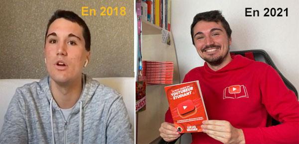 Lucas sur ses premières vidéos en 2018... et en 2021 après plus de 600 vidéos publiées !