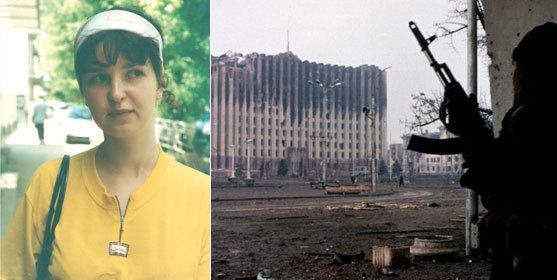 Polina à 18 ans et Grozny en guerre. (Photos : Books Editions, Mikhail Evstafiev / Wikimedia)
