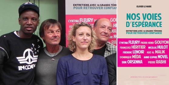 De g. à dr. : Abd Al Malik, Nicolas Hulot, Anne-Sophie Novel, Pierre-Henri Gouyon. Photos : Julie Mazaud