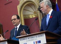 François Hollande et Philippe Couillard, le Premier ministre québécois. © Elysée
