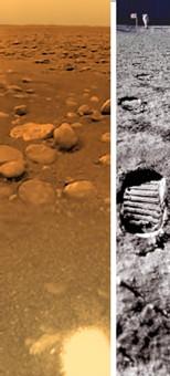 A g. : le sol de Titan, le petit satellite de Saturne, à dr. : le sol lunaire à la même échelle