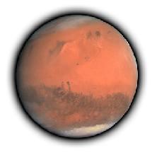 La planète Mars entourée de son atmosphère magnifique.