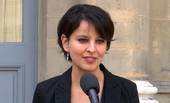 La ministre Najat Vallaud-Belkacem lors du point presse du 10 avril 2015 présentant la réforme du collège..