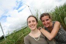 Devant des éoliennes à Ste-Suzanne (île de la Réunion)