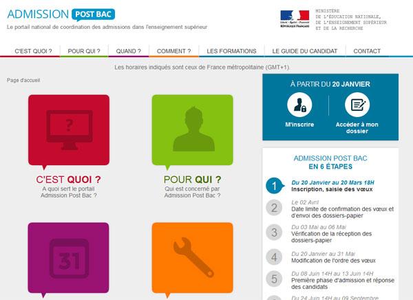 Le portail www.admission-postbac.fr