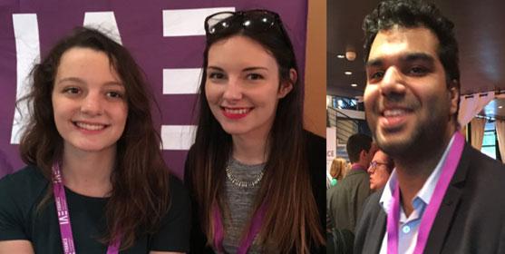"""Léonore, Caroline et Kevin, étudiants en IAE, lors d'une soirée """"Ambassadeurs IAE"""" à Paris."""
