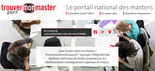 Le portail trouvermonmaster.gouv.fr