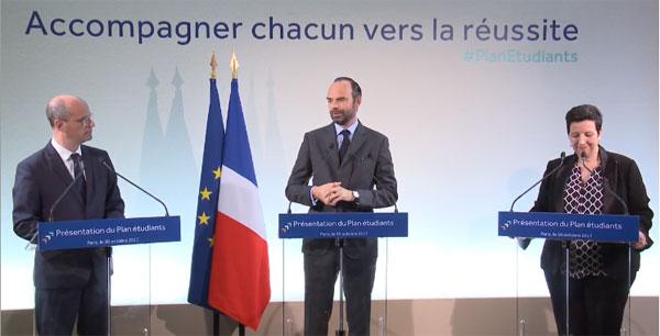 Le Premier ministre Edouard Philippe entouré du ministre de l'Education et de la ministre de l'Enseignement supérieur, le 30 octobre 2017.