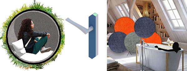 Trois réalisations de jeunes designers finalistes du prix Tremplin jeunes Talents.