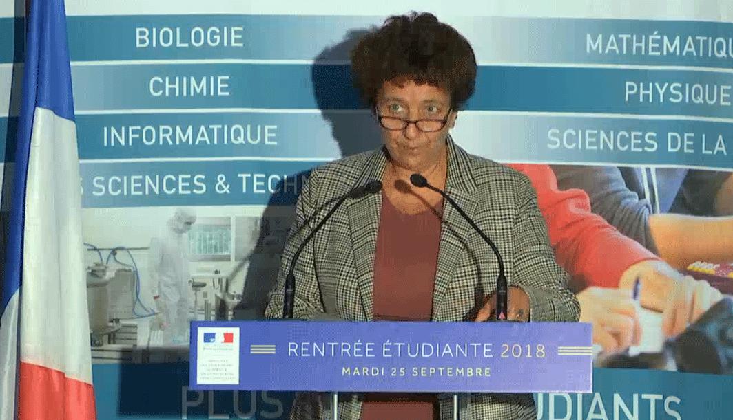 Frédérique Vidal lors de la conférence de presse de rentrée le 25 septembre 2018. © capture vidéo MESR