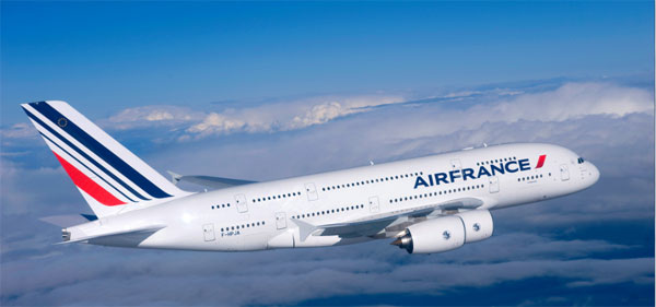 Un Airbus A380 d'Air France, appareil long courrier sur lequel des PCB peuvent embarquer. © Air France