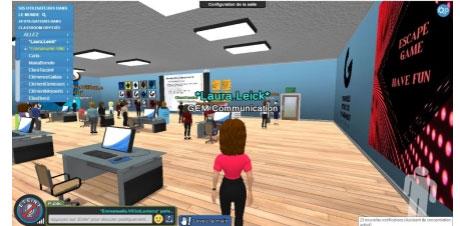 La visite de l'école proposée par GEM à l'étudiant via son avatar.