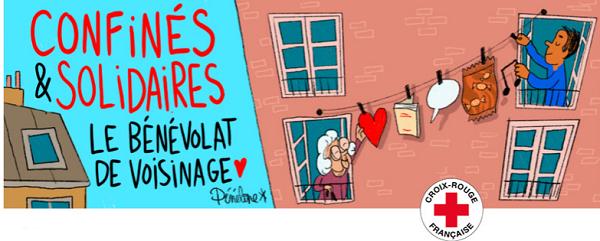 """illustration de l'opération """"Confinés mais solidaires"""" de la Croix-Rouge."""