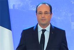François Hollande annonce la libération des otages d'Arlit, le 29 octobre 2013.