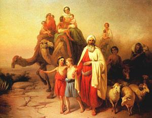 Abraham par un peintre hongrois (1850). Le patriarche est souvent représenté comme un sage âgé cheminant avec tous les siens.