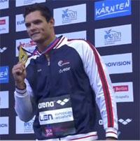 Florent Manaudou, champion d'Europe du 50m et du 100m nage libre.