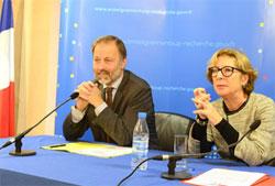 Christian Lerminiaux et Geneviève Fioraso. Photo : MENESR / XR Pictures