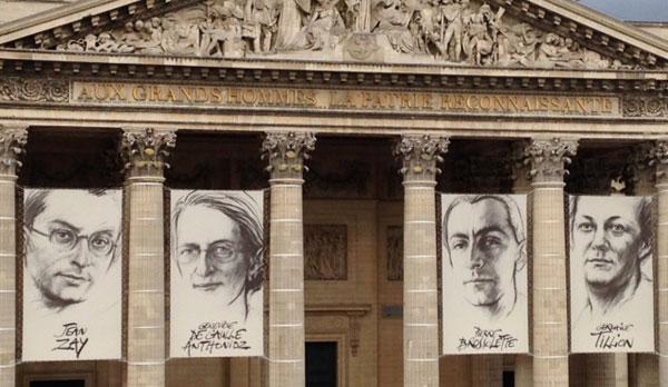 Les portraits affichés devant le panthéon le 27 mai 2015, lors de l'accueil des restes des 4 résistants.