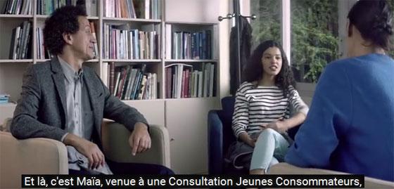 Image extraite d'un spot télé de la campagne sur les consultations jeunes consommateurs.
