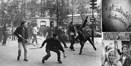 Manifestations étudiantes au Quartier Latin à Paris début mai 68 et slogans. © Wikipédia