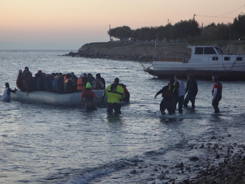 Arrivée de migrants sur les côtes grecques (Photo : J-N.D)